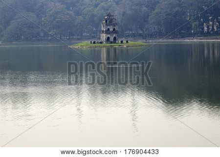 Turtle Tower On Hoan Kiem Lake In Hanoi, Vietnam