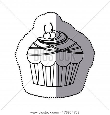 silhouette muffin with cherrys and chocolate icon, vector illustration design
