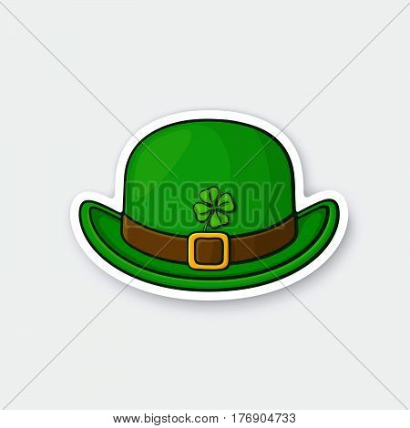 Vector illustration. Front view of bowler hat with buckle and clover. Saint Patrick's Day symbol. Sticker in cartoon style with contour. Decoration for greeting cards patches prints for clothes badges