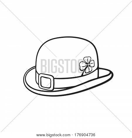 Vector illustration. Hand drawn doodle of bowler hat with buckle and clover. Saint Patrick's Day symbol. Cartoon sketch. Decoration for greeting cards posters emblems wallpapers