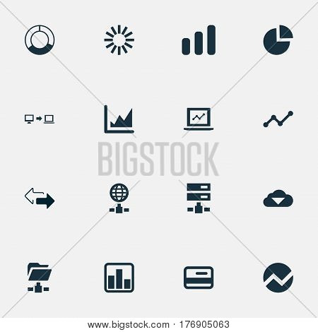 Vector Illustration Set Of Simple Analysis Icons. Elements Hosting, Increase Graph, Digital Documnet And Other Synonyms Server, Growing Up And Report.