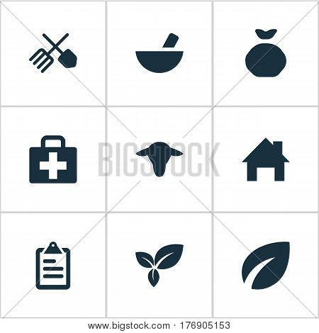 Vector Illustration Set Of Simple Harvest Icons. Elements Sack, List, Plant And Other Synonyms Holdall, List And Buffalo.