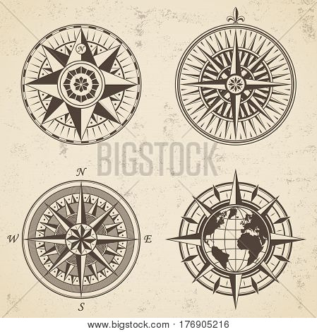 Set Of Vintage Antique Wind Rose Nautical Compass Signs Labels Emblems Elements.
