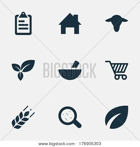 Vector Illustration Set Of Simple Agriculture Icons. Elements Leaves, Ranch Home, Virus And Other Synonyms Grass, Small And Cart.
