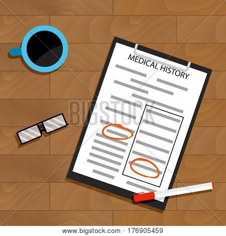 Treat a patient medical history. Doctor paperwork top view. Vector illustration