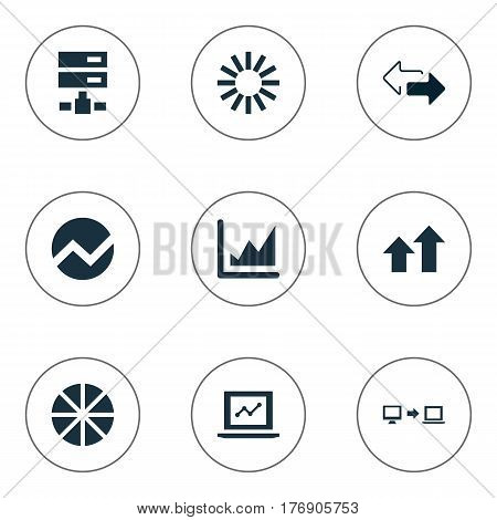 Vector Illustration Set Of Simple Information Icons. Elements Double Arrow, Spreading Chart, Increase And Other Synonyms Analytics, Arrows Up And Spread.