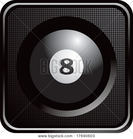 eight ball on glossy diamond web button