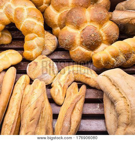 Fresh Baked Breads In Baker Shop In Sicily