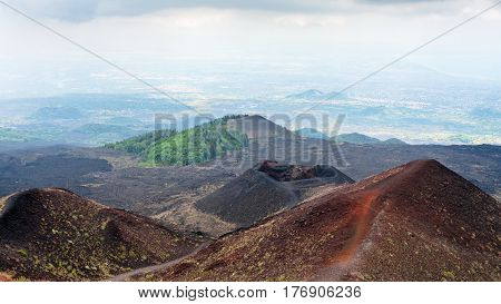 View Of Craters On Mount Etna In Sicily