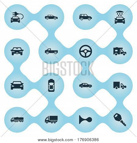 Vector Illustration Set Of Simple Transport Icons. Elements Vehicle, Haulage, Automobile And Other Synonyms Sedan, Transport And Shipping.
