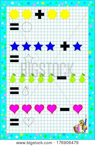 Page with exercises for children on a square paper. Developing skills for drawing and counting. Vector image.