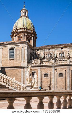Statue On Piazza Pretoria And Church In Palermo