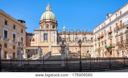 Piazza Pretoria In Center Of Palermo City