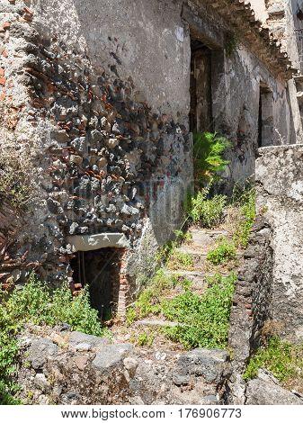 Old Stone House In Francavilla Di Sicilia Town