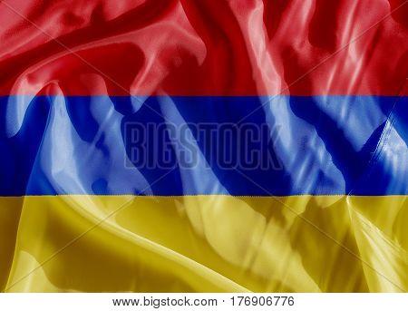 Armenia flag on a cloth in close-up