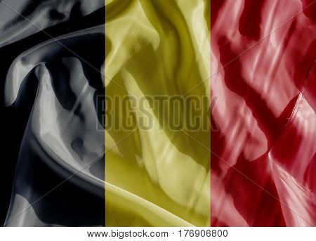 Belgium Flag on a cloth in close-up