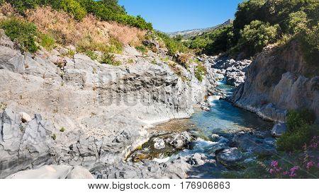 Alcantara River In Sicily In Summer Day