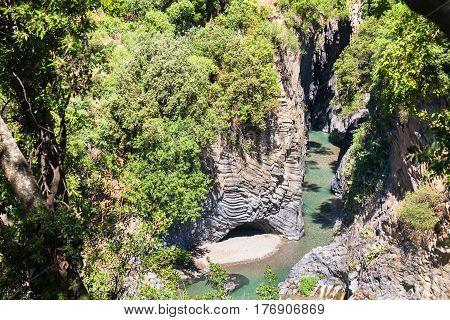 Above View Of Gole Dell Alcantara River In Sicily