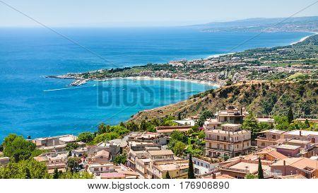 Panorama With Taormina And Giardini Naxos Towns