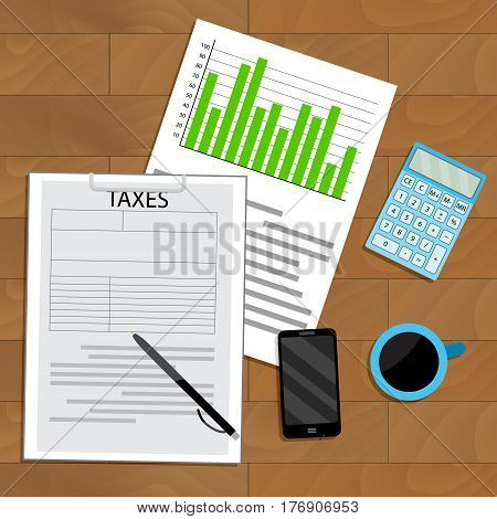 Tax analysis and statistics. View top wooden table business statistic and accounting finance report vector illustration