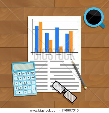Research and count statistics. Analysis paper economy calculating report vector illustration