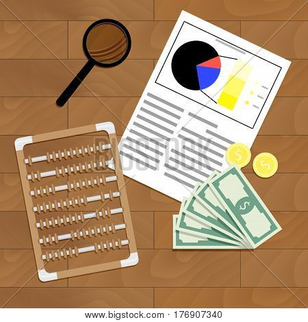Financial statistics and analysis. Review graph document research statistic finance vector illustration