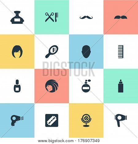 Vector Illustration Set Of Simple Hairdresser Icons. Elements Blow Dryer, Peeper, Container And Other Synonyms Head, Reflector And Hair.