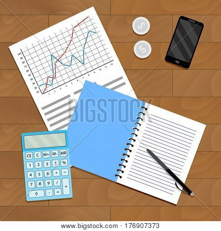 Research and verification of statistical data. Paperwork with index statistic analyzing and management financial monitoring vector illustration