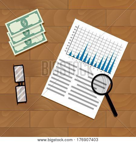 Analysis of annual financial statistics. Review data and optimization economy diagram vector illustration