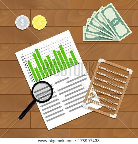 Financial audit vector. Finance paperwork report illustration