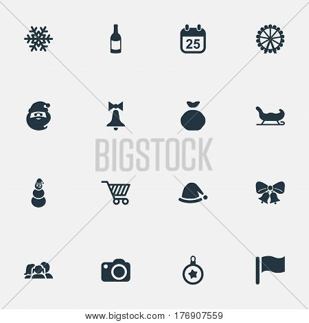 Vector Illustration Set Of Simple Celebration Icons. Elements Tree Toy, Bag, Funfair And Other Synonyms Carnival, Drink And Ice.