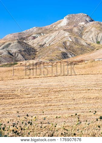 Mountain And Rural Fields Of Inner Part Of Sicily