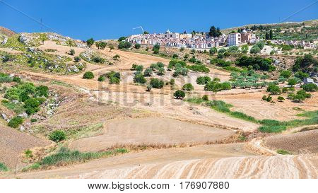 Agrarian Fields And Cemetry In Southern Sicily