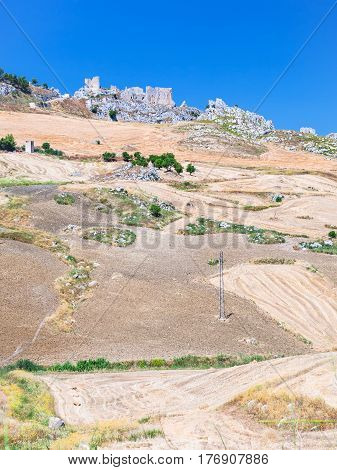 Agrarian Fields And Ruins In Southern Sicily
