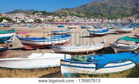 Boats On Urban Beach In Village Giardini Naxos