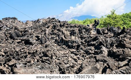 Petrified Lava Flow After Volcano Etna Eruption