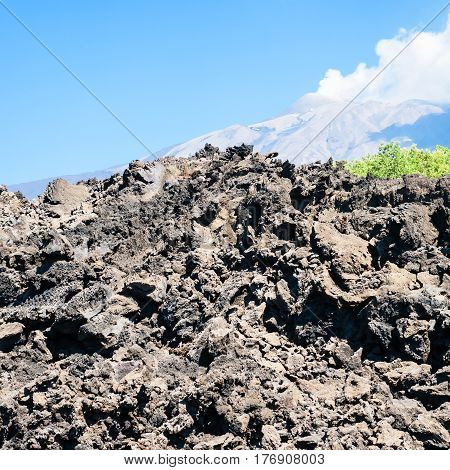 Hardened Lava Flow After Volcano Etna Eruption