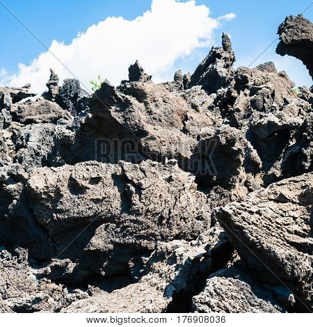 Sharp Lava Pieces After Volcano Etna Eruption