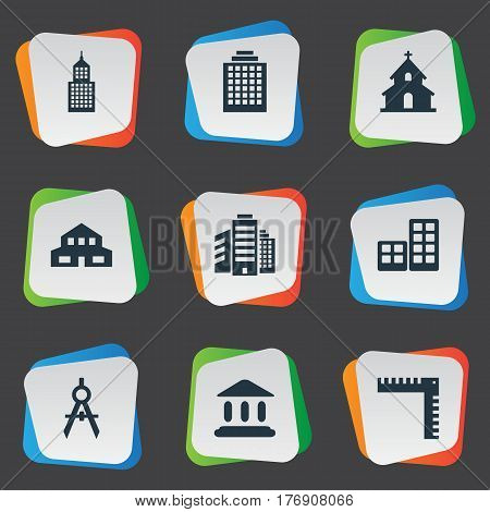 Vector Illustration Set Of Simple Architecture Icons. Elements Superstructure, Offices, Flat And Other Synonyms Apartment, Building And Edifice.