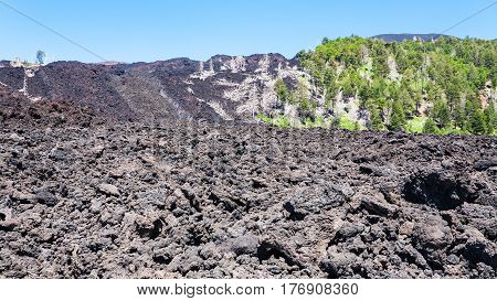 Frozen Lava Flow On Slope Of Etna Volcano