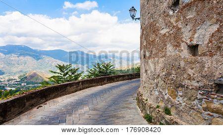 Walls Of Lauria Castle In Castiglione Di Sicili