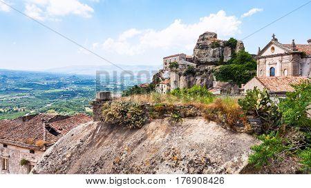 Castle And Basilica In Castiglione Di Sicilia Town