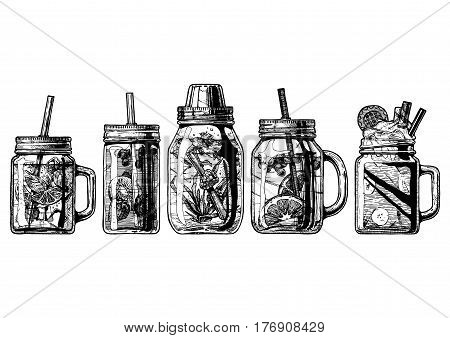 Vector hand drawn illustration set of shaker and cocktails in drinking jar with handle and straw. Isolated on white background.