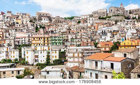 Panorama Of Castiglione Di Sicilia Town In Sicily
