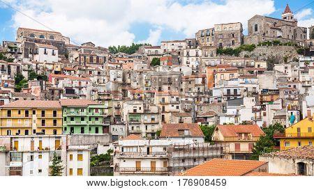Skyline Of Castiglione Di Sicilia Town In Sicily