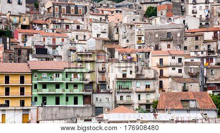 Houses In Castiglione Di Sicilia Town In Sicily