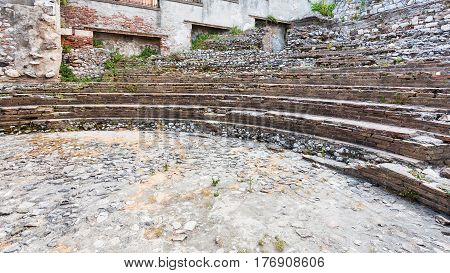 Ruins Of Ancient Roman Odeon Theater In Taormina
