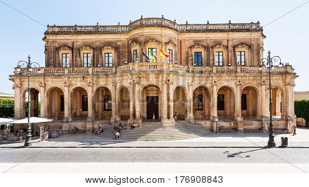 travel to Italy - facade of Palazzo Ducezio (Town Hall) in Noto city in Sicily poster