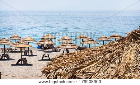 Straw Parasols On San Marco Beach In Sicily