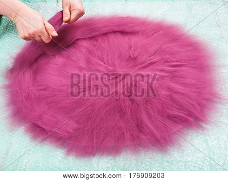 Milliner Spreads The Second Layer Of Wool Fibers